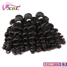 XBL New Arrival 7A Virgin French Curl Brazilian Human Hair Wet And Wavy Weave