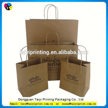 Wholesale Recycled Printed Kraft Shopping Paper Bag Brown