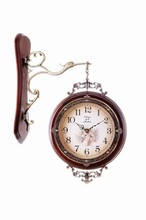 Vintage Decoration Home Clock Double Side Wood Craft Clock decorative wall stickers