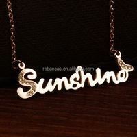 Luxury filled gold plate pendant, engrave letter beer cap pendant necklace
