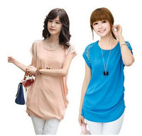 for ladies loose big yards long lace shirt casual short-sleeved chiffon shirt Ladies' Blouses Tops