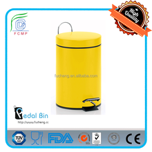 silent close foot pedal powder coating yellow pedal bin for outdoor