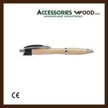 Handmade nature color clip wooden pen wood pen manufacturer in China