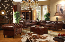Classic Living Room Set Top Grain Brown Leather Sofa/Arm Chair And Love Seat (MOQ=1 SET)