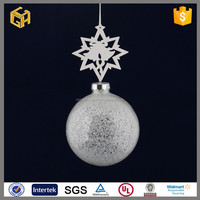 Handmade indoor hanging silver christmas glass ball decoration