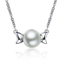 New Gift Items Popular Girls Accessories Angel Wings Simple Round Big Pearl Necklace Pendant Adjustable Silver Chain Necklace