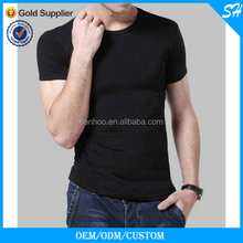 Mens Fashion Slim Fit Plain Black T Shirt O Neck
