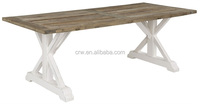 DT-1501 Vintage Reclaimed Wood Furniture White Recycle Elm Dining Table