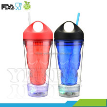 2015 NEW! 16oz Double wall flashing Skull tumblers with handle lid and straw