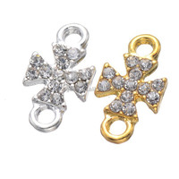 Nickel-Free Luxury silver and gold Plated Sideways Cross jewelry bracelet Connectors With Rhinestones