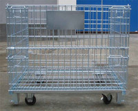 Galvanized or PVC coated industry foldable metal wire mesh storage cage with high quality