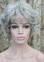 Europe and the United States sell well in older women flowers white wig The old lady silvery white short curly wig