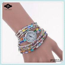PS0118 2015 New Style Fashion Women Dress Watches Quartz Colorful Flannel Leather Luxury Rhinestone wrap leather watch