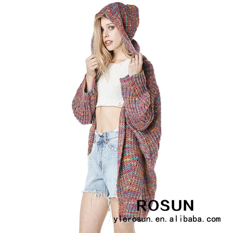 Moda de acrílico de lujo tejer patrón de la mujer capuchas chaqueta ...