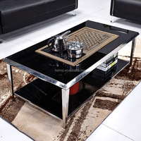 wholesale living room furniture modern stainless steel tea glass table top