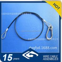 black PA/PVC coated steel wire rope with steel snap hook and loop