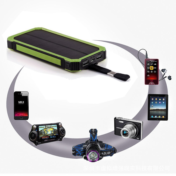 Waterproof 12000mah solar power bank