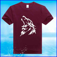 shirt factory 65 polyester 35 cotton wolf printing short sleeve t shirt wholesale