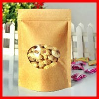 High Quality 14cm*19cm*140Micron Kraft Paper With Window Zipper Bags Plastic Gift Bags For Food Zip Lock Bags