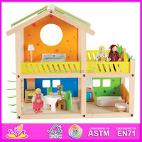 2015 Pretend Play Toy Wooden Doll House in stock,DIY wooden toy house,DIY house model W06A053-A1