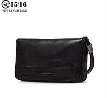 Men's wallet leather wallet tide zipper sheepskin wrist purse with large capacity