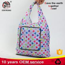 Custom logo foldable nylon polyester zipper tote bag