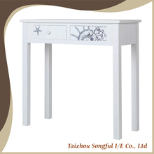 Shabby chic console living room natural top white simple design wooden classic console table