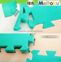 Eva foam Combination green & beige colourful non slip eco-friendly and safe kids floor mat big area 50*50cm