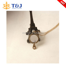 >>>new design hot sale bronze plated long chain women dressing mirror pendant necklace