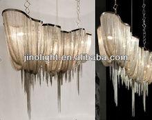 Modern silver chain chandelier lighting