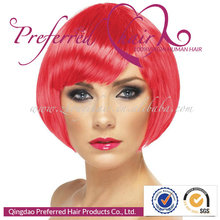 Cosplay Synthetic Wigs 10'' Red Color Silky Straight Lace Front Wigs With Bangs For Sexy Women
