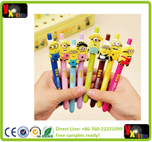 New 8 Cute Fun Despicable Me 2 Minions Figures Inks Ballpoint Pen Pens Kids Student Stationery Gifts