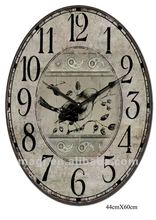 2012 Newest Wooden Antique Oval Clock With Bird