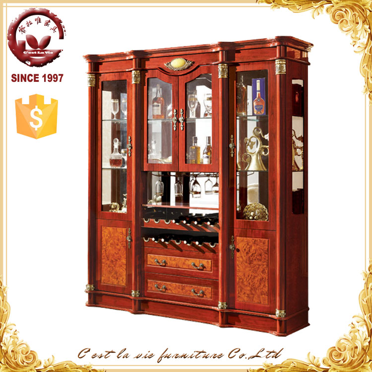 Dining Room Cherry Wine Storage Wooden Multi Drawer Cabinet With ...