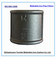 GI malleable iron pipe fitting ,beaded black coupling