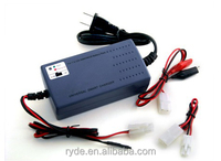 Smart universal charger for NiMH/NiCd battery pack 7.2 to 12V with charging current Selection/temperature sensor