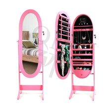 Pink Oval Standing Mirror Cabinet Jewelry Armoire Organizer