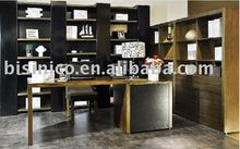 solid wood book table and chair, solid bookcase, beautiful bookshelf color black and yellow B49197
