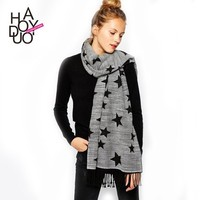 2015 Women Winter Knit Warm Wide Star Pattern Scarf for Wholesale Haoduoyi