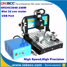 OKACC factory 240w spindle motor 4 axis ball screw USB2.0 port 3040 mini 3d cnc router for wood and marble, wood plunge router