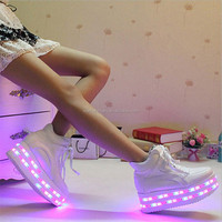 Factory New 2016 women's DOUBLE LED Light shoe fashion platform flatform leather lighted shine shoes mid calf with usb charging