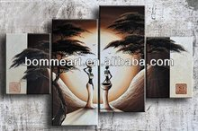 hand-painted wall art Africa beauty forest bird home decoration abstract Landscape oil painting on canvas 4pcs/set mixorde