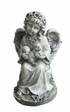 Garden child angel sitting and holding squirrel statue
