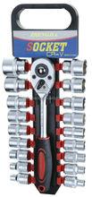 "19pcs 1/2"" Socket Ratchet Wrench Set With Plastic Storage Rack"