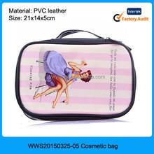 2015 Korean style lovely women printed PVC cheap makeup vanity cases, portable makeup vanity case, wholesale makeup cases