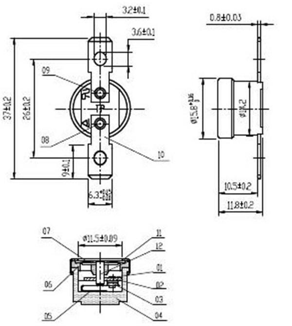 t1  33-s sod type coffee maker bimetal thermostat