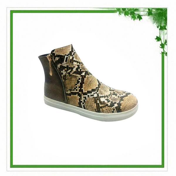 New Style Unisex High Top Snakeskin With Zipper Rubber Casual Shoes