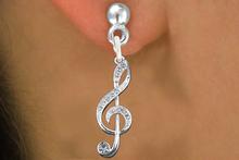 Lead, Nickel & Cadmium Free! Silver Tone Genuine Austrian Clear Crystal Covered Treble Clef Charm Earring