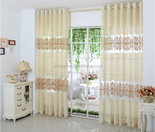 100% polyester warp knitted printed lace window curtains