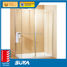 Square walk in shower room with stainless steel wheels